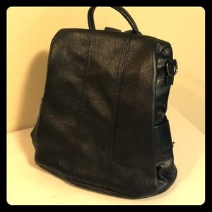 """Handbags - Cute little black leather """"backpack"""" style bag NEW"""
